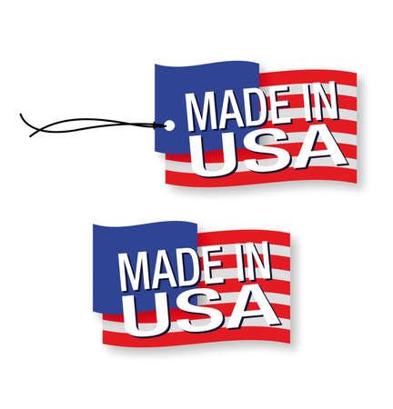 Hecho en las etiquetas de EE.UU. x 2 (aislado) Vectores