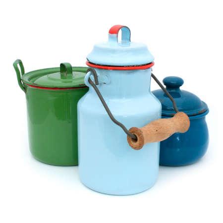 Former enamel kitchen toys  isolated   Stock Photo