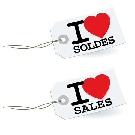 Me encanta las ventas con las etiquetas de los corazones aislados