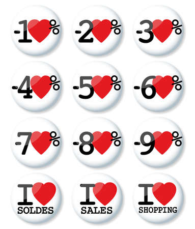 sales promotion: I love percentage - discount stickers  isolated