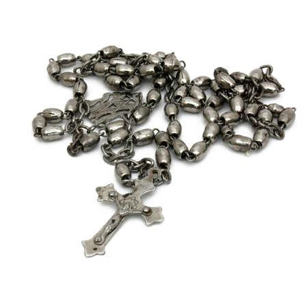 El ex de plata perlas de tonos met�licos del rosario