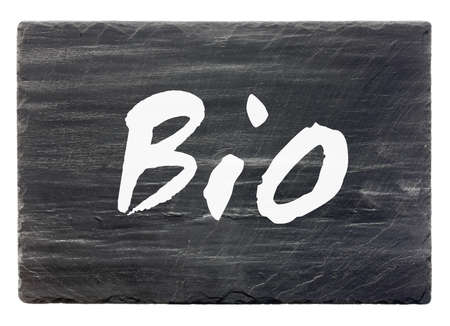 Bio - slate stone panel  isolated  Stock Photo
