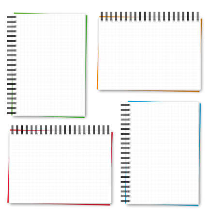 cuaderno espiral: Bloc de notas de espiral cuadrada en blanco x 4