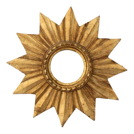 Sun-shaped gilt wood frame  isolated