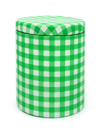 Metal box green gingham printed  isolated  photo