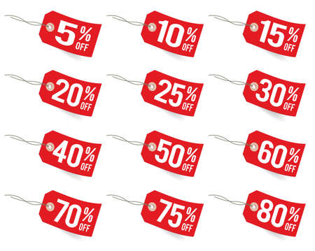 price cut: Promo sale labels Illustration
