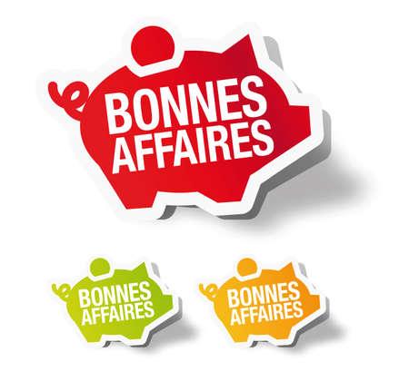 Bonnes affaires - French piggy bank sticker label Stock Vector - 12667553