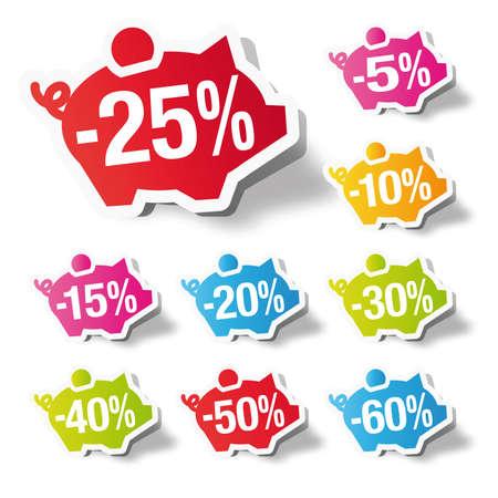 Porcentaje de descuento - guarro etiqueta adhesiva del banco Vectores