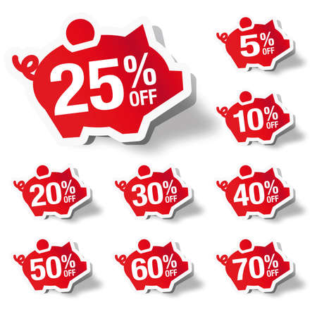 Percentage off - piggy bank sticker label Vector