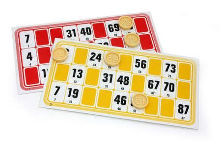 bingo: Franceses loto cartones de juego en el fondo blanco Foto de archivo