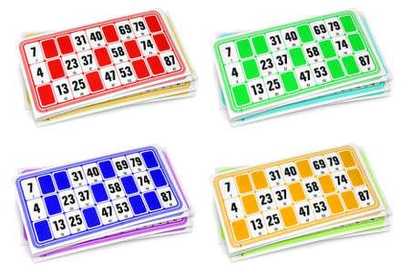 loteria: Franceses loto cartones de juego en el fondo blanco Foto de archivo