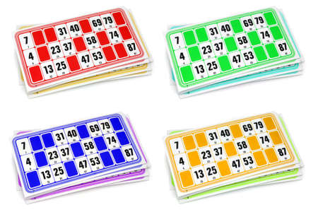 loto: French loto game cardboards  on white background