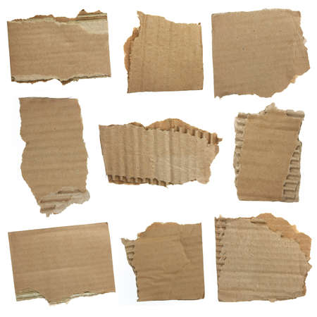 memoir: Textured recycled cardboard with torn edges Stock Photo