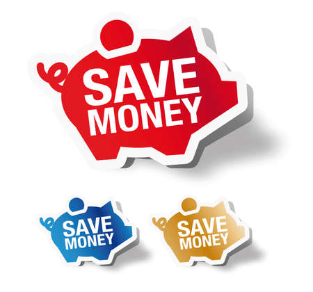 price cut: Risparmi soldi - piggy etichetta adesiva banca