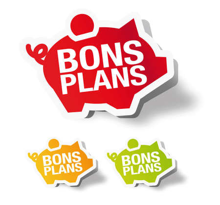 Bons plans - French piggy bank sticker label Stock Vector - 12940120