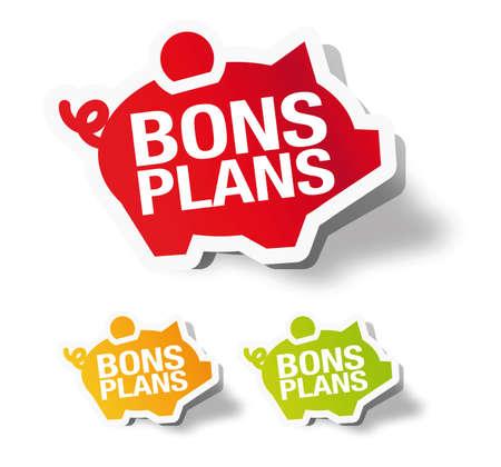 Bons plans - French piggy bank sticker label