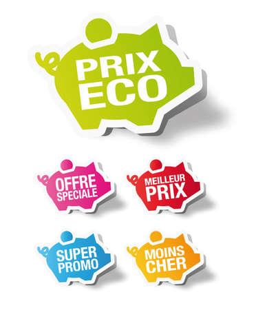 price cut: Prix ??eco - Francese piggy etichetta adesiva banca Vettoriali