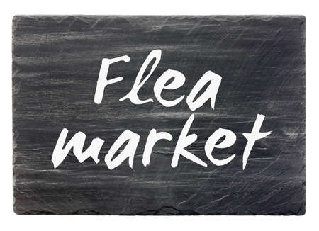 tr�delmarkt: Flohmarkt - Schiefer Platte isoliert Lizenzfreie Bilder