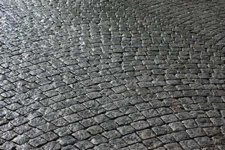 cobblestone street: Paved street  Stock Photo