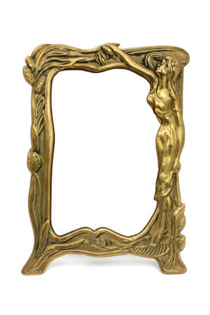 Bronze framework with woman  isolated