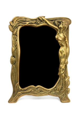 Bronze framework with woman  isolated  photo