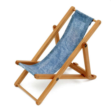 Deck chair toy on white background photo