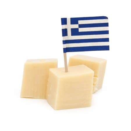 greek flag: Cubes of greek cheese  isolated