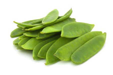 tout: Peas in their pod on white background
