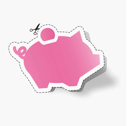 piggy bank sticker coupon Vector