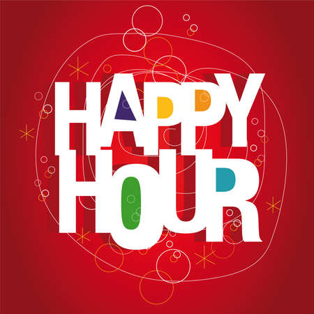 Happy hour sign Vector