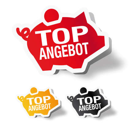 Top angebot - German piggy bank sticker label Vector