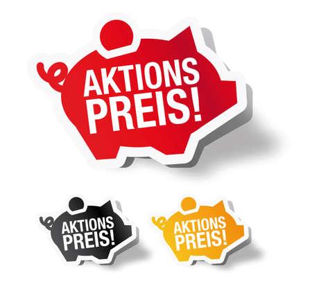 Aktions preis - German piggy bank sticker label Vector