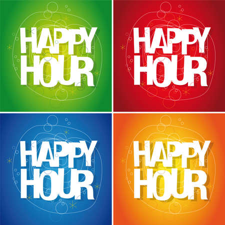 Happy hour sign Stock Vector - 13076734