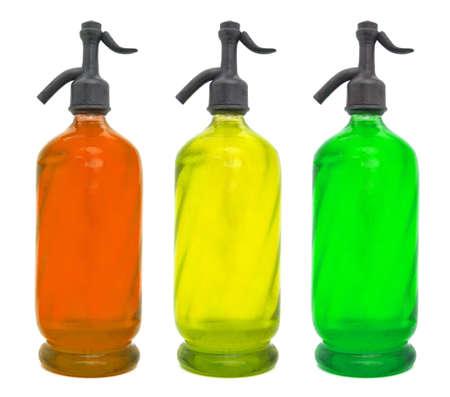 acqua di seltz: Soda bicchiere d'acqua sifone 3 colori Archivio Fotografico
