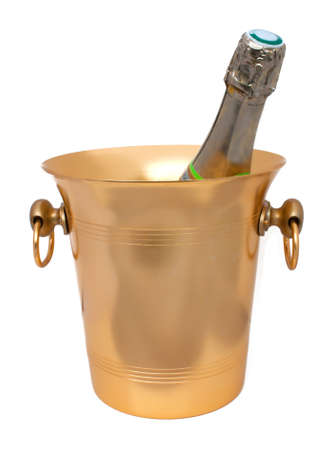 Gilt ice bucket with a champagne bottle  photo