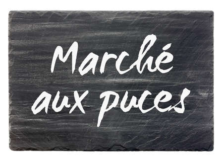 Flea market - French slate stone panel (isolated) photo