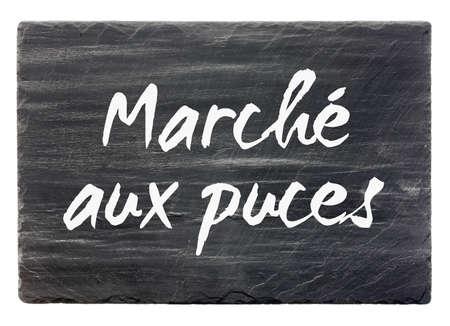 Flea market - French slate stone panel (isolated) photo