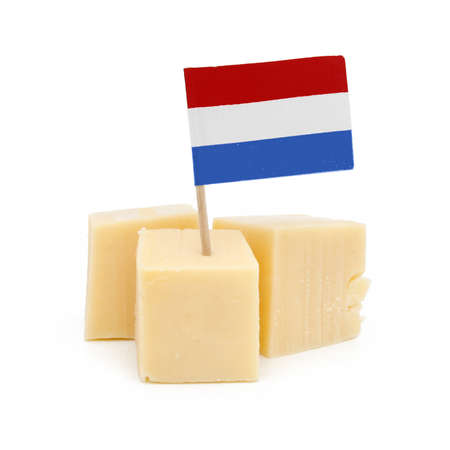 Cubes of dutch cheese - isolated  photo