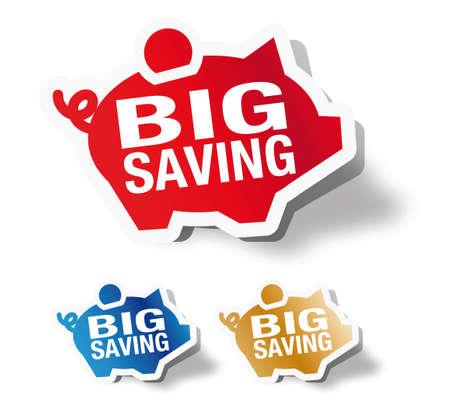 Big saving - piggy bank sticker Illustration