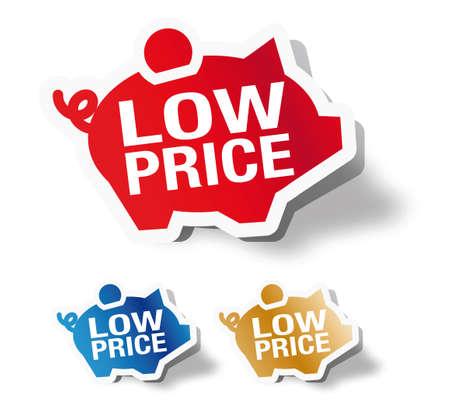 low prizes: Bajo precio - guarro etiqueta del banco Vectores
