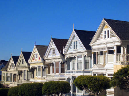 residential houses: San Francisco, Alamo square, the painted ladies Stock Photo