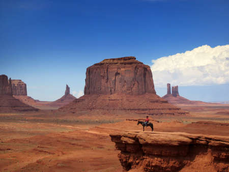 cowboy on horse: Monument Valley Navajo tribal park, Arizona, Utah, USA