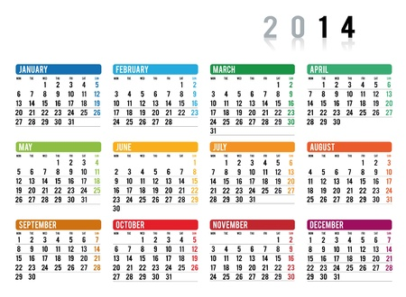 2014 calendar in english Vector