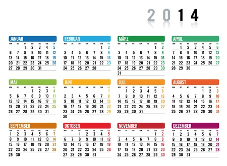 2014 calendar in german Illustration