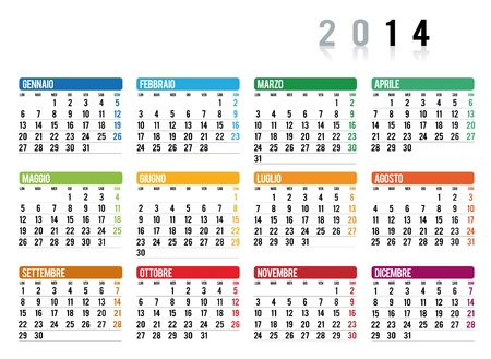 2014 calendar in italian Illustration