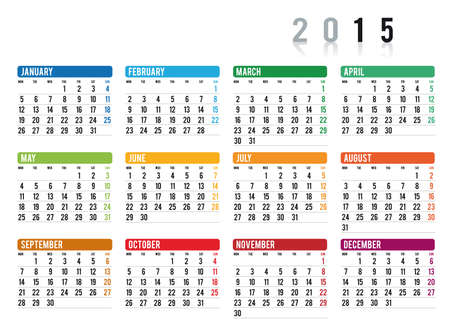 2015 calendar in english Vector