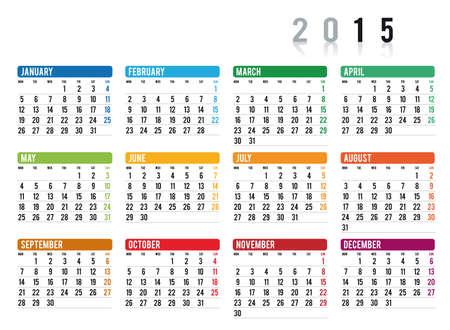 2015 del calendario en Ingl�s Vectores