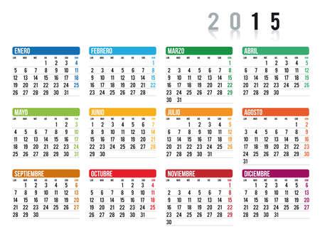 2015 calendario en espa�ol Vectores