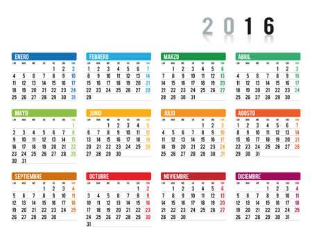 2016 calendario en espa�ol Vectores
