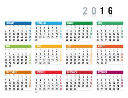 kalendarz: 2016 kalendarz w języku angielskim Ilustracja